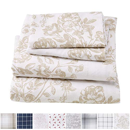Great Bay Home Extra Soft Toile 100% Turkish Cotton Flannel Sheet Set. Warm, Cozy, Lightweight, Luxury Winter Bed Sheets. Belle Collection (Queen, - Toile Flannel