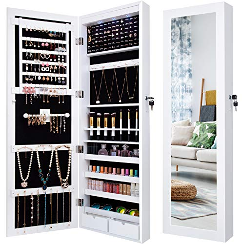 Jewelry Cabinet Organizer Armoire Box Storage Over The Door Mirror Lockable Standing Wall Door Mounted Full Length Door Mirror Hanging Jewelry Earring Organizer Necklace Holder (Boxs Jewerly)
