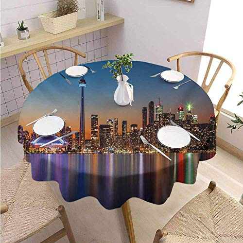 S-ANT Restaurant Round Tablecloth Landscape,Urban Theme A Cityscape View of Toronto and The Skyscrapers at Dusk Digital Print,Dark Blue Parties Wedding Patio Dining D58 (Restaurants Patio Best Toronto)