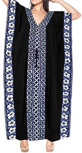 LA LEELA PV Solid Long Caftan Swim Dress Ladies Black_4094 OSFM 14-28W [L-4X] by LA LEELA