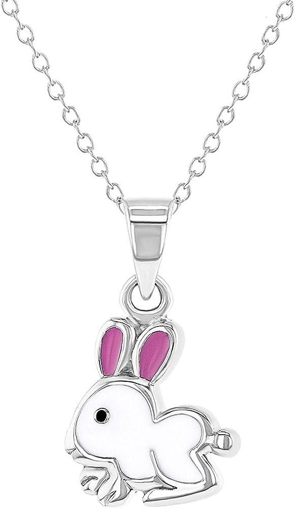 /Émail Blanc et Rose Lapin Collier Pendentif In Season Jewelry Filles 40 cm Argent 925//1000