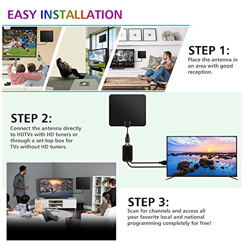 80 Miles Long Range TV Antenna 2018 NEWEST VERSION OIRIKY Indoor Digital HDTV Antenna with Detachable Amplifier Signal Booster 132FT High Performance Coaxial Cable Freeview Local Channels TV Antennas