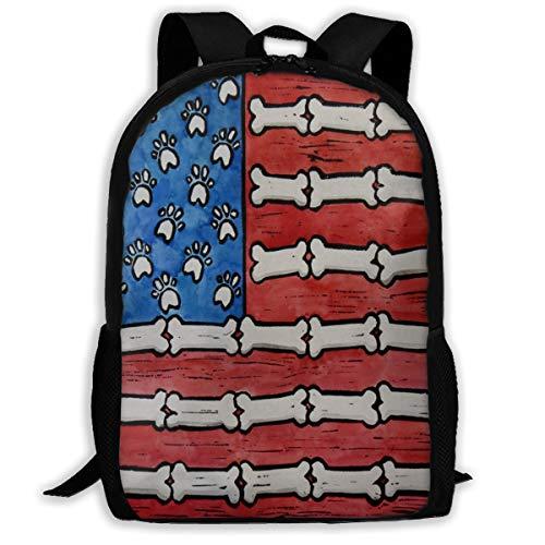 Backpack For Girls Boys Dog Gone American Flag Folk Art Zipper School Bookbag Daypack Travel Rucksack Gym Bag For Man Women -