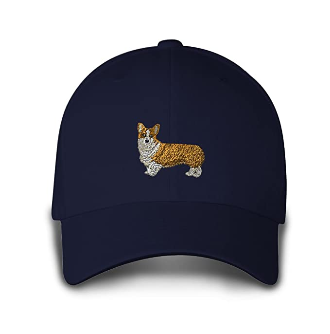 60ede0f7ba1 Image Unavailable. Image not available for. Color  Pembroke Welsh Corgi  Embroidery Adjustable Structured Baseball Hat Navy