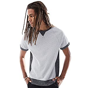 Rebel Canyon Young Men's Short Sleeve Crewneck Side Contrast Sweatshirt Top Medium Light Grey Heather