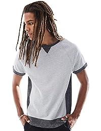 Young Men's Short Sleeve Crewneck Side Contrast Sweatshirt Top