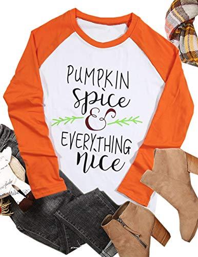 Pumpkin Spice Every Thing Nice Raglan Long Sleeve T-Shirt Women Halloween Splicing Top Tees Size XXL (Orange)