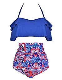 Ebuddy Women Vintage High Waist Retro Bikini Swimsuit Swimwear