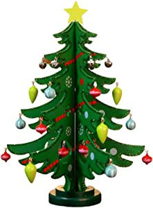 FRECI Mini Christmas Tree Wooden Christmas Tree Desktop Decoration for Xmas Home Decor - Green