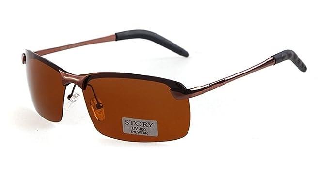 Herren Randlos Metall rechteckigen Rahmen 65mm Polarisierte Sonnenbrille Ob4OHbl