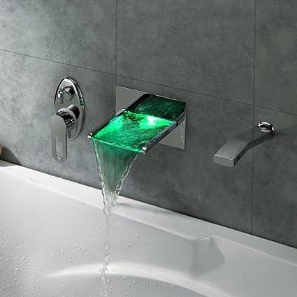 LightInTheBox Single Handle Wall Mount Waterfall LED Bath Tub Filler ...