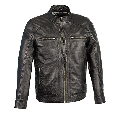 Milwaukee Leather Men's Sheepskin Moto Leather Jacket with Zipper Front (Black, ()