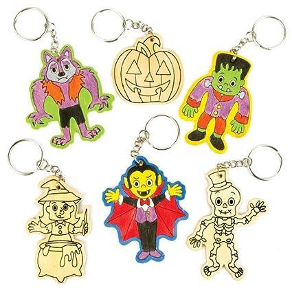 Amazon.com: Halloween colour-in Llaveros de madera perfecto ...