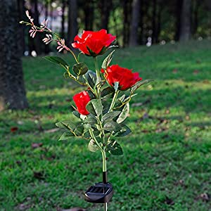 Elstey Solar Lights Rose Flower with Red Buds, Solar Powered Outdoor Waterproof LED Lamps Garden Landscape Decoration Illumination 6