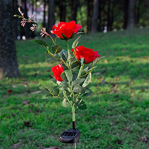 Elstey Solar Lights Rose Flower with Red Buds, Solar Powered Outdoor Waterproof LED Lamps Garden Landscape Decoration Illumination