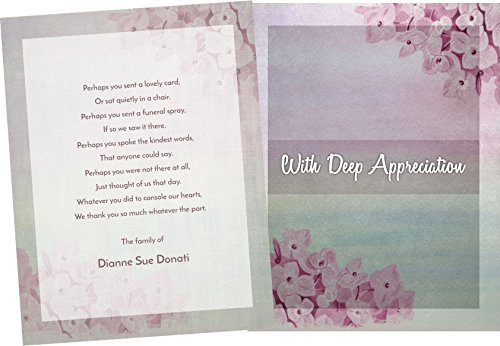 Funeral Memorial Service Thank You Cards & Envelopes, Double Sided, (25 count) (Floral - Customized)