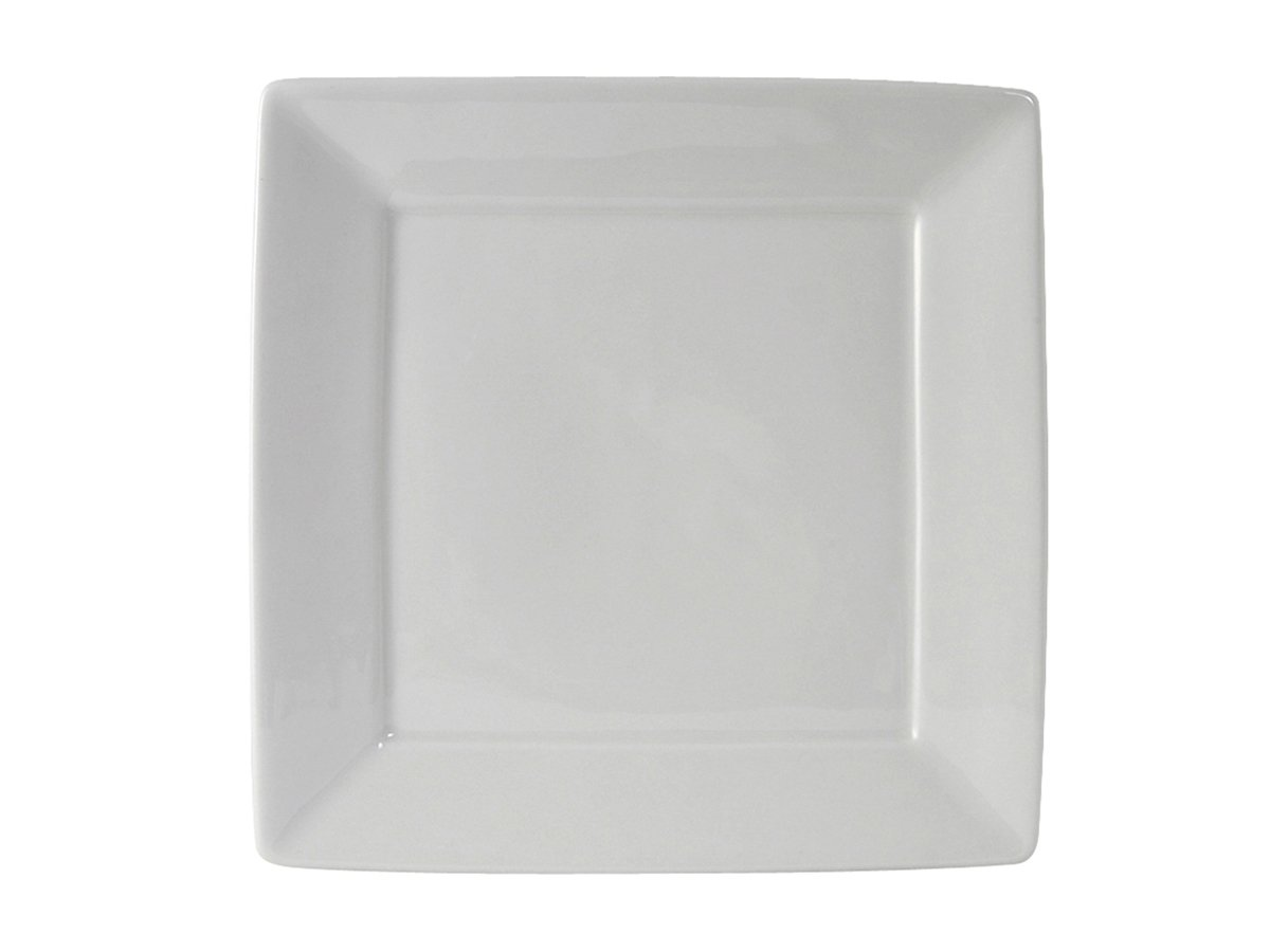 Tuxton BWH-1016 Vitrified China Square Plate, 10-1/8'', White (Pack of 12), Oven-Microwave-Pressure Cooker Safe; Freezer to Oven Safe