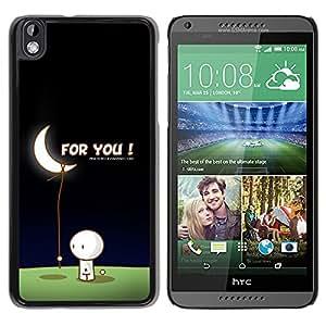 Qstar Arte & diseño plástico duro Fundas Cover Cubre Hard Case Cover para HTC DESIRE 816 ( Moon Art Love Man Bring Stars Romance Gift)