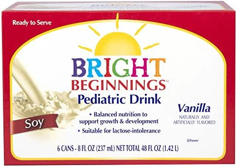 Bright Beginnings Soy Pediatric Nutritional Drink, Vanilla, 8oz Cans 6-Count, (Pack of 4)