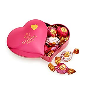 Godiva Chocolatier Valentine's Day 2018 Heart Gift Tin with 8 Pieces Individually Wrapped Chocolate Truffles