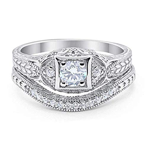 Blue Apple Co. Art Deco Vintage Style Two Piece Wedding Engagement Bridal Set Ring Band Round Simulated CZ 925 Sterling Silver, Size-4