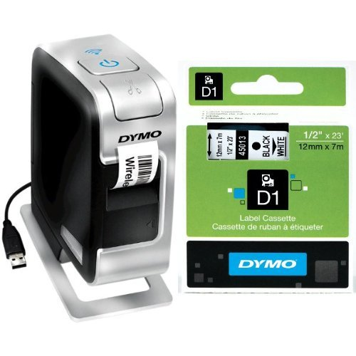 DYMO LabelManager Wireless Plug N Play Label Maker (1812570) + 2 bonus rolls of 1/2 White Tape with Black Print