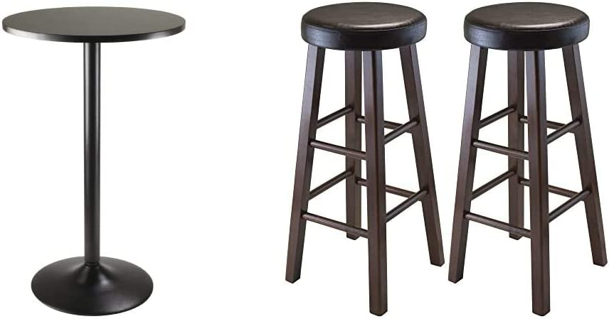 Winsome Obsidian Pub Table Round Black MDF Top with Black Leg and Base - 23.7-Inch Top & Wood Marta Assembled Round Bar Stool with PU Leather Cushion Seat and Square Legs, 30.3-Inch, Set of 2