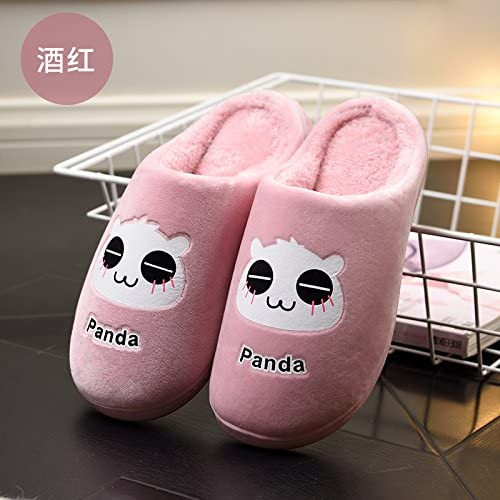 Aemember Autumn And Winter Couples Home MenS Cotton Slippers Bag And Thick Bottom Antiskid Thermal Slippers Female,42-43 For 40-41 Foot Wear ,Red Wine