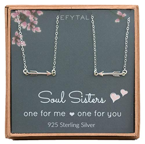 EFYTAL Best Friend Necklace Set, Sterling Silver Arrow Link 2 Matching Friendship Necklaces, Two BFF Gift Ideas