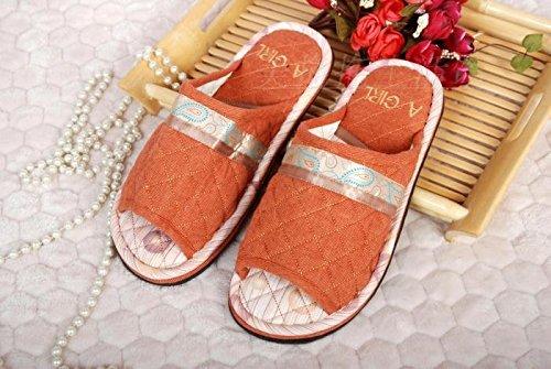 Coppie fankou home scarpe moquette del pavimento cotone pantofole ,37-38, arancione