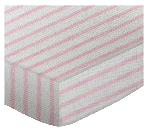 SheetWorld Fitted Square Playard Sheet 37.5 x 37.5 (Fits Joovy) - Pink Stripes Jersey Knit - Made In USA