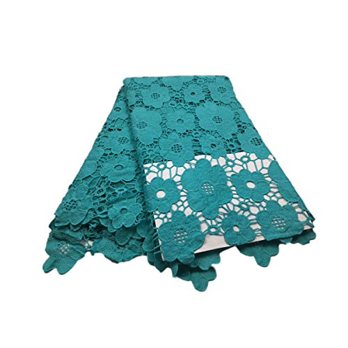 KENLACE 5 Yards/Lot Arrival 100% Cotton Lace nigerian wedding african lace fabric/guipure cord lace fabric (Teal)