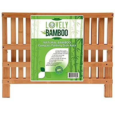 Lovely Bamboo Dish Rack for Drying Full-Size Dinner Plates * Compact and Sturdy Design * Foldaway
