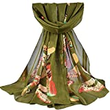 4Clovers Lightweight Scarf for Women - Fashion Butterflies Printing Fall Winter Warm Scarves Shawl Wraps