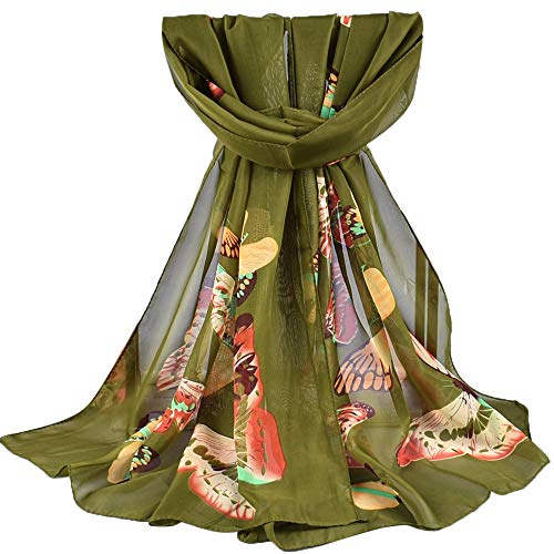 (4Clovers Lightweight Scarf for Women - Fashion Butterflies Printing Fall Winter Warm Scarves Shawl Wraps)
