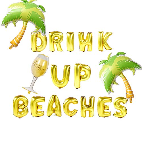 JeVenis Drink Up Beaches Banner Drink Up Beaches Balloons Beach Bachelorette Banner Tropical Bachelorette Balloons Beach Bach Balloons Pineapple Flamingo Decoration ()