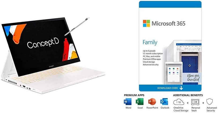 ConceptD 3 Ezel CC314-72G-72SX Convertible Creator Laptop, with Microsoft 365 Family 12-Month Subscription