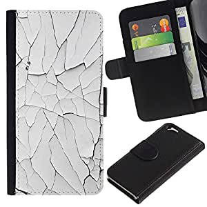 EuroTech - Apple Iphone 6 4.7 - Chipped Paint Rustic Wall White Broken - Cuero PU Delgado caso Billetera cubierta Shell Armor Funda Case Cover Wallet Credit Card
