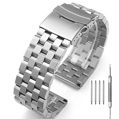 Solid Stainless Steel Watch Band Strap Bracelet Wristband 22mm with Double Buckle Clasp for Men Women (Gents Steel Bracelet Watch)
