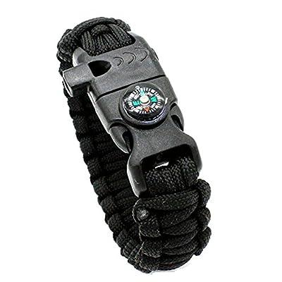 BoChang Survival Bracelet, 1 Pack Paracord Survival Bracelets, Compass, Fire Starter, Whistle & Emergency Knife, Hiking Camping Gear