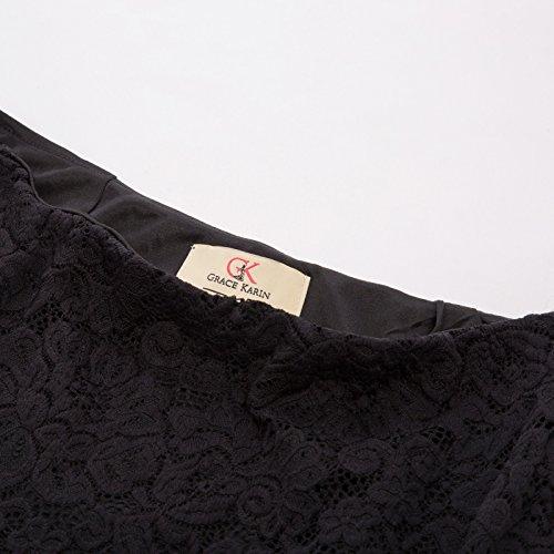 15f01b6555 GRACE KARIN Womens Ruffle Business Pencil Skirt Knee Length High Waist Lace  Skirts Black S