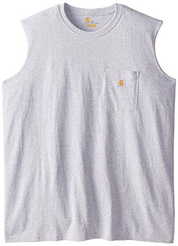 Carhartt Men's Big & Tall Workwear Pocket Sleeveless Midweight T-Shirt Relaxed Fit,Heather Gray,XXX-Large