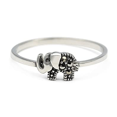 925 Sterling Silver Elephant Ring MJfG6nCYp