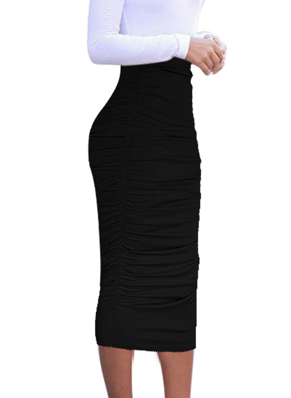 VfEmage Womens Elegant Ruched Frill Ruffle High Waist Pencil Mid-Calf Skirt 1877 Black 14
