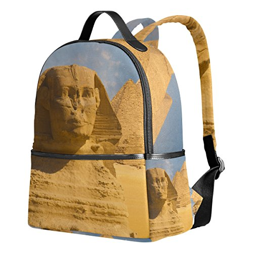 Egyptian Sphinx And Pyramid Unisex Rucksack Canvas Satchel Casual Daypack ,School College Student (Egyptian Sphinx Miniature)