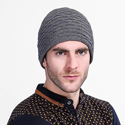 Lana de Gris Gorro de Hilado Moda Invierno para Xianheng Hombre Cómodo ElásticoCaliente Punto de Espesado de para WYXqqa