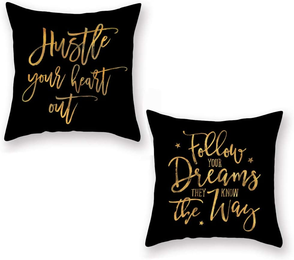 Aremazing Insipirational Quotes Saying Throw Pillow Covers Super Soft Decorative Black Gold Lettering Cushion Cover Home Sofa Pillowcase 18''x18'' Set of 2,Follow Your Dream, Hustle Your Heart Out