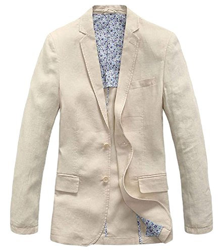 chouyatou Men's Lightweight Half Lined Two-Button Suit Blazer (XX-Large, Beige)