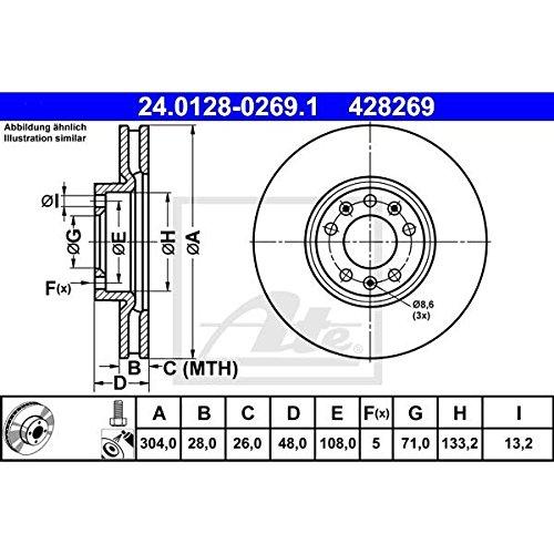Set of 2 ATE 24.0128-0269.1 Bremsscheiben