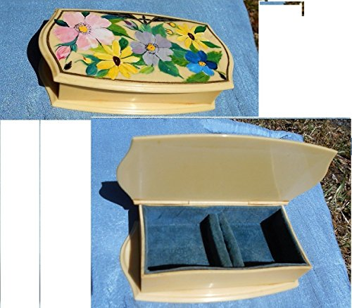 Victorian Celluloid - 1920s Floral Celluloid Dresser Box, Hand Painted Large Ring Case, Jewelry Box or Sewing Box, Nice Display for Victorian Dresser!